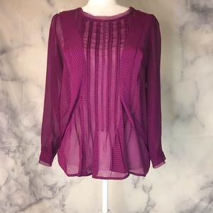 Anthro HD in Paris Purple sheer work tunic size 6